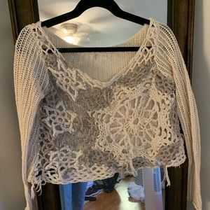 Free People Open Knit Snowflake Cropped Sweater